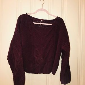 Free People Maroon Chunky Sweater Size S